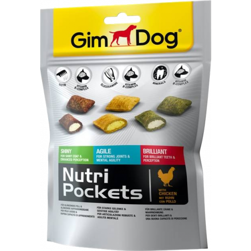 Лакомства GimDog Nutri Pockets Mix для собак, микс из трех вкусов, 150г
